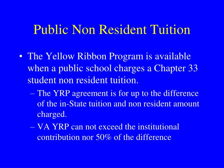 Public Non Resident Tuition