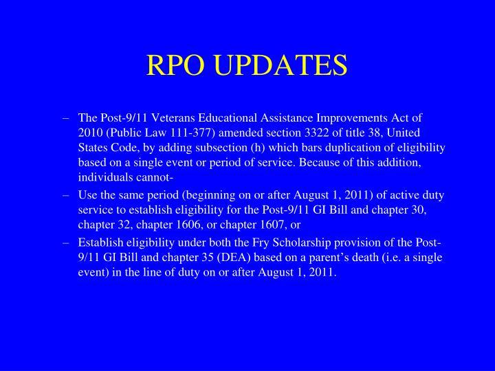 RPO UPDATES