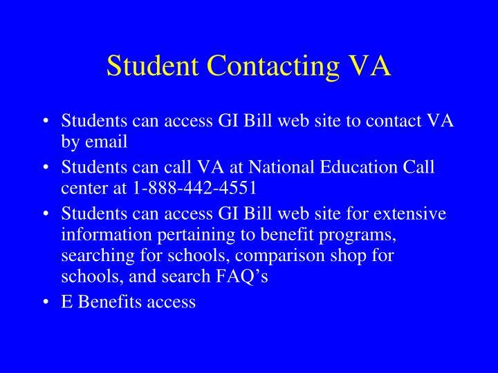 Student Contacting VA
