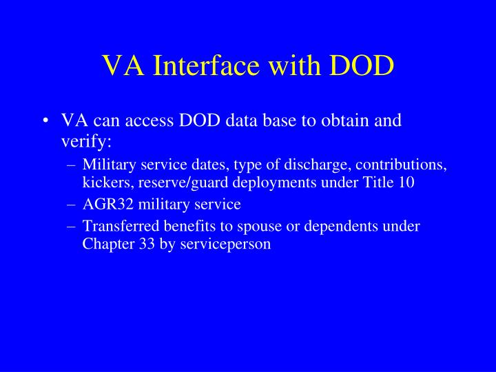 VA Interface with DOD