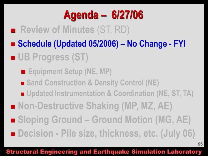 Agenda –  6/27/06