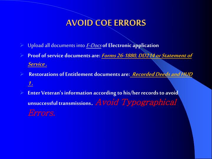 AVOID COE ERRORS