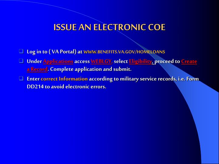 ISSUE AN ELECTRONIC COE