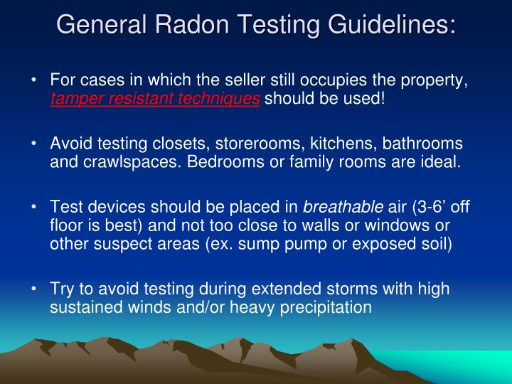 General Radon Testing Guidelines: