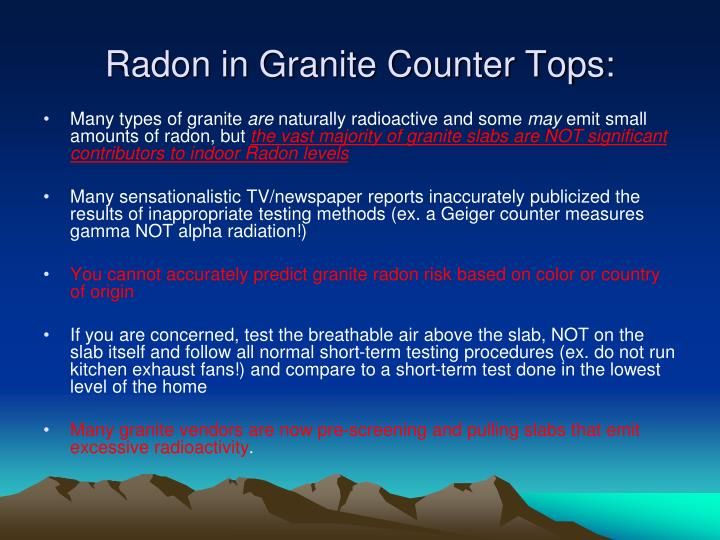 Radon in Granite Counter Tops: