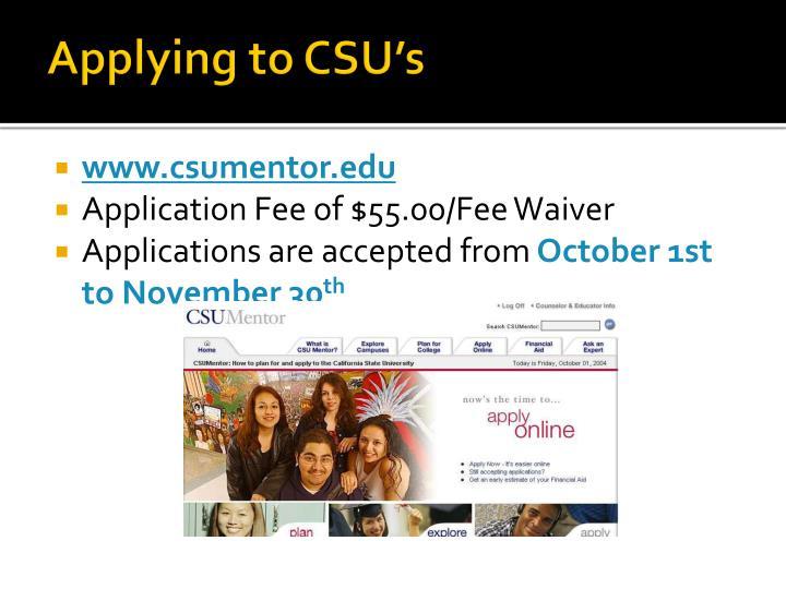 Applying to CSU's