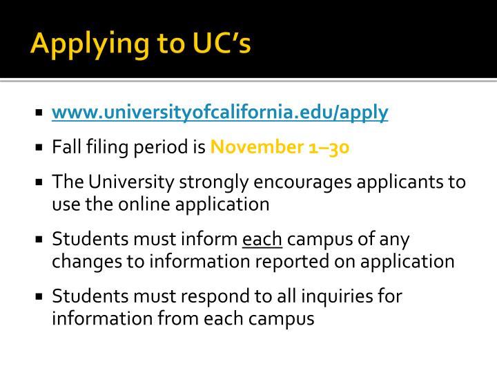 Applying to UC's