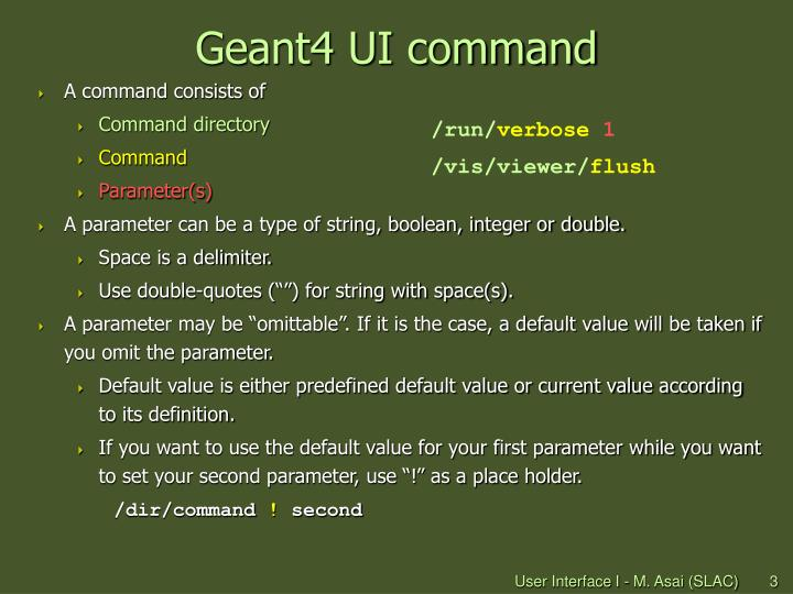 Geant4 UI command