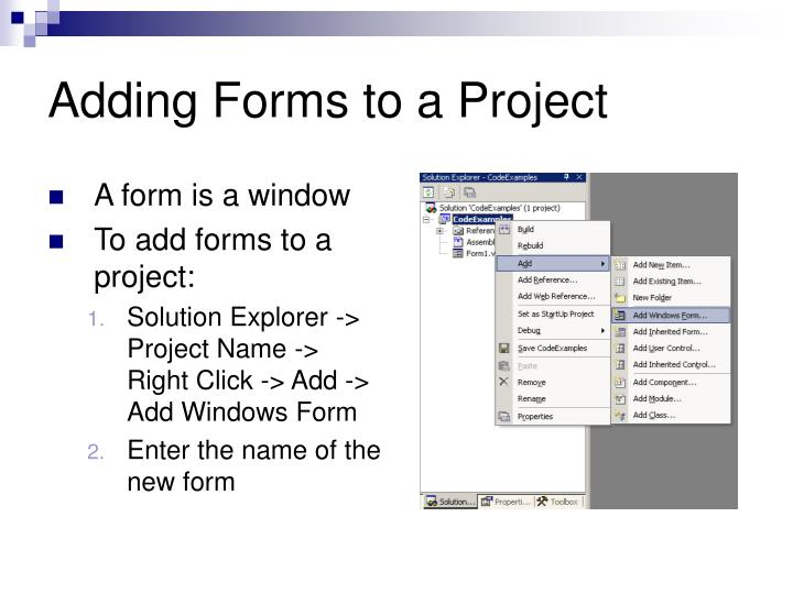 Adding Forms to a Project