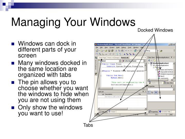 Managing Your Windows