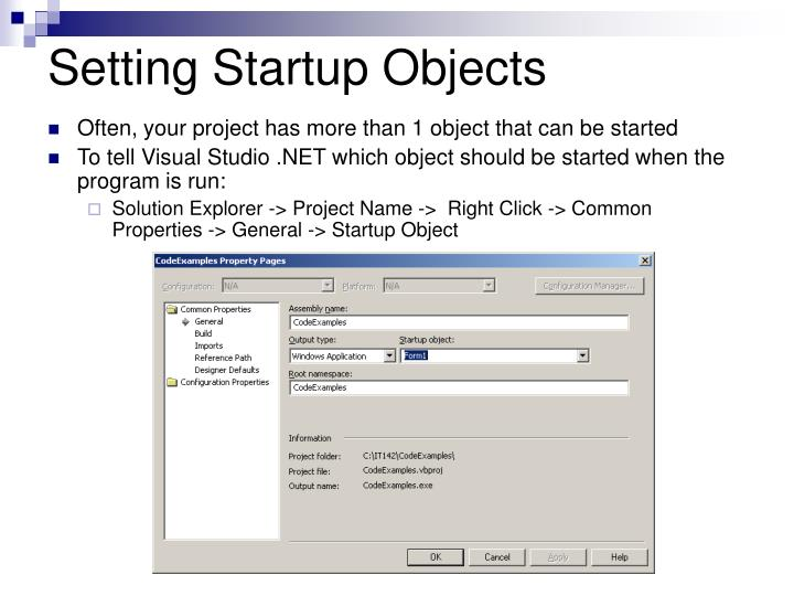 Setting Startup Objects