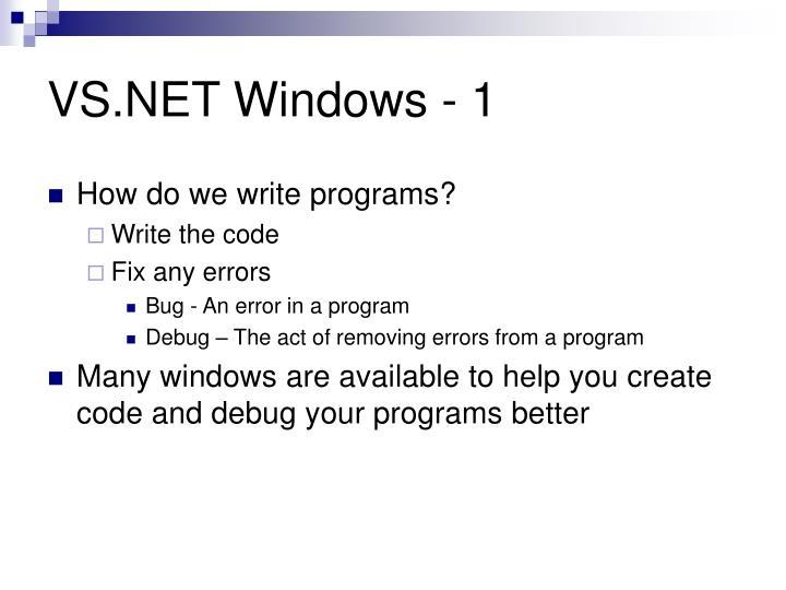 VS.NET Windows - 1