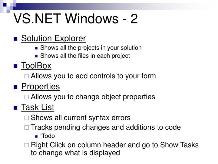 VS.NET Windows - 2