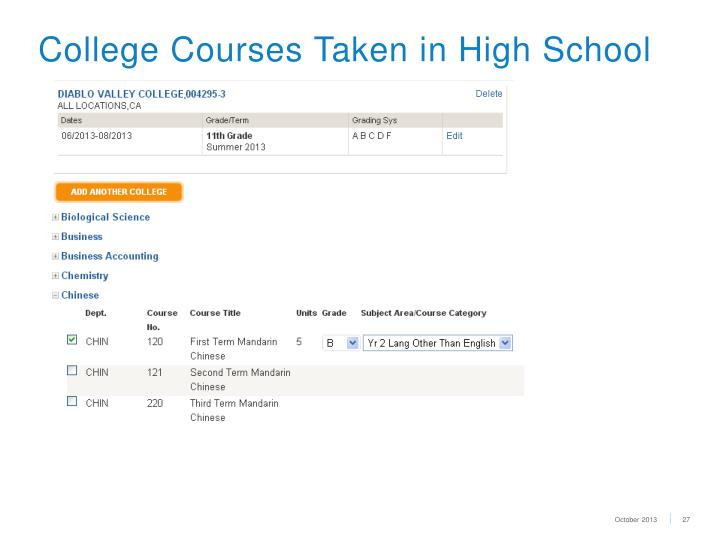 College Courses Taken in High School