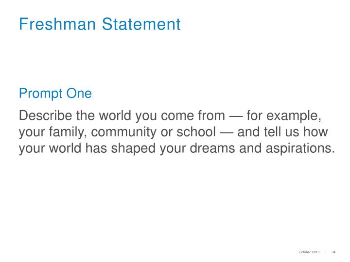 Freshman Statement