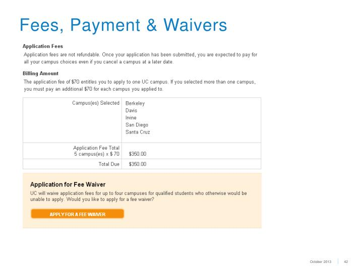 Fees, Payment & Waivers