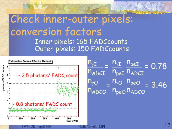 Check inner-outer pixels: conversion factors