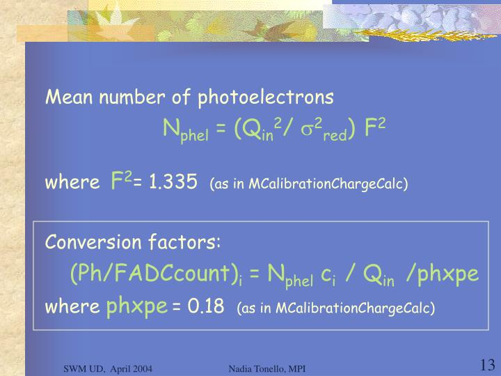 Mean number of photoelectrons