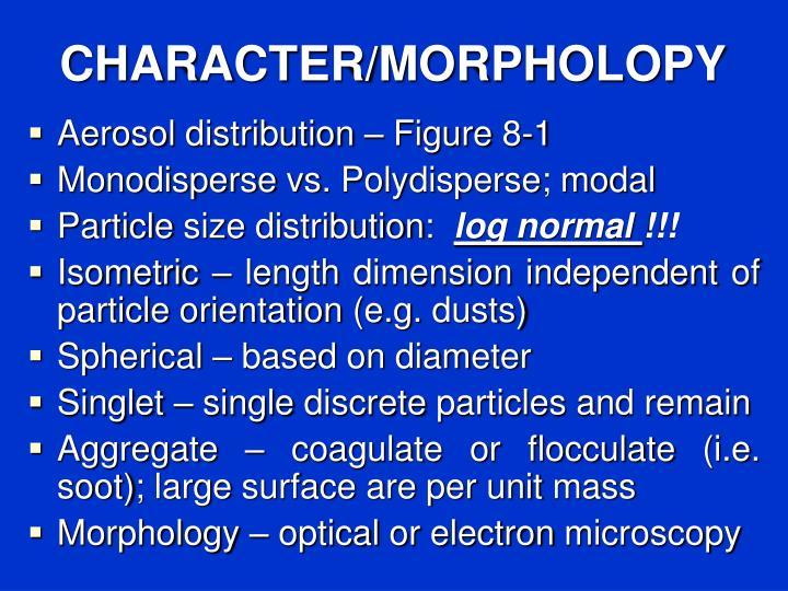 CHARACTER/MORPHOLOPY