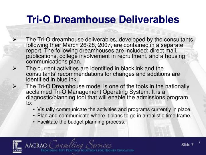 Tri-O Dreamhouse Deliverables