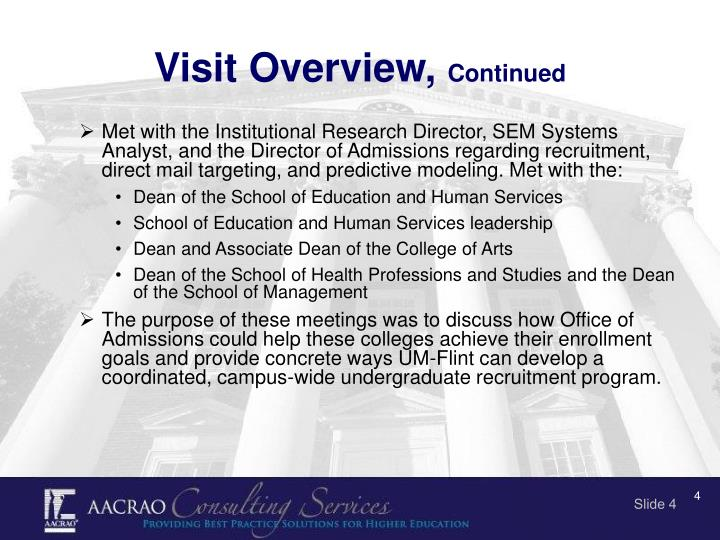 Visit Overview,