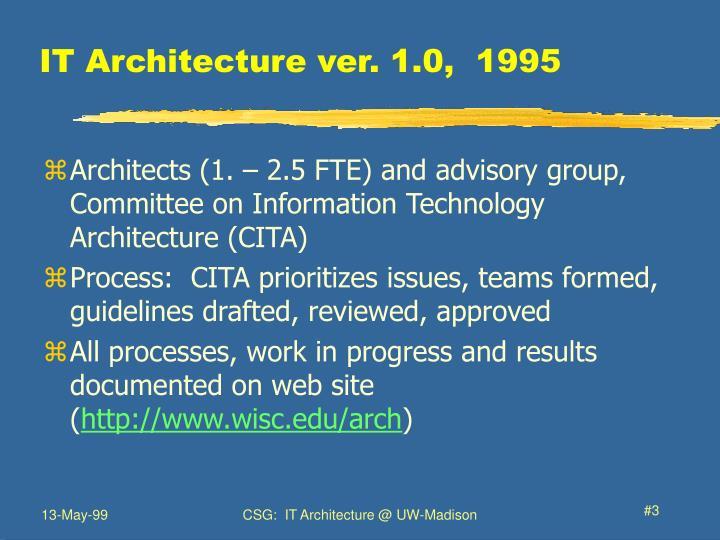 IT Architecture ver. 1.0,  1995