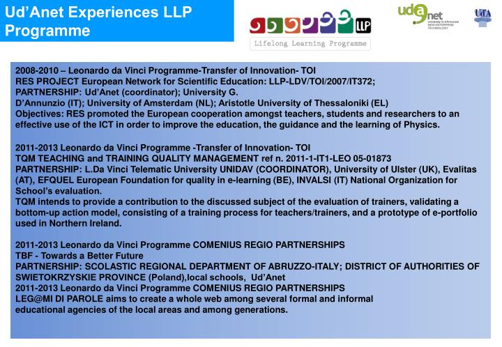 Ud'Anet Experiences LLP Programme