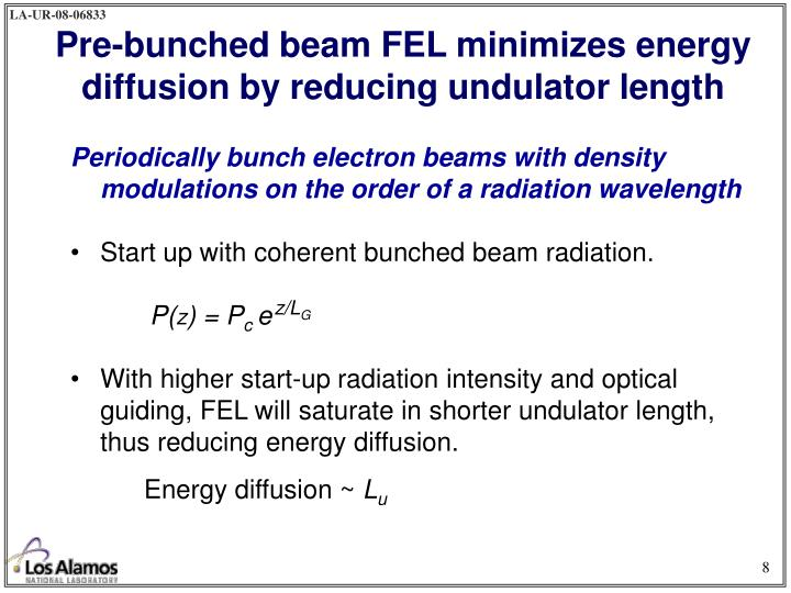 Periodically bunch electron beams with density modulations on the order of a radiation wavelength