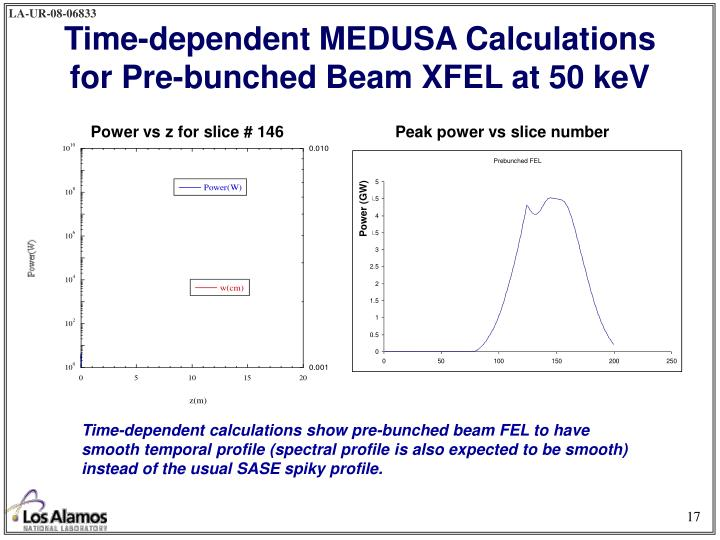 Time-dependent MEDUSA Calculations for Pre-bunched Beam XFEL at 50 keV