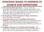 strategic issues to address to achieve our aspirations