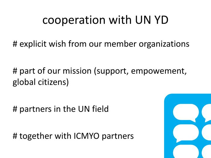 cooperation with UN YD
