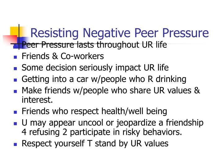 resisting peer pressure speech