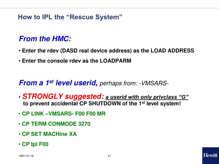 "How to IPL the ""Rescue System"""
