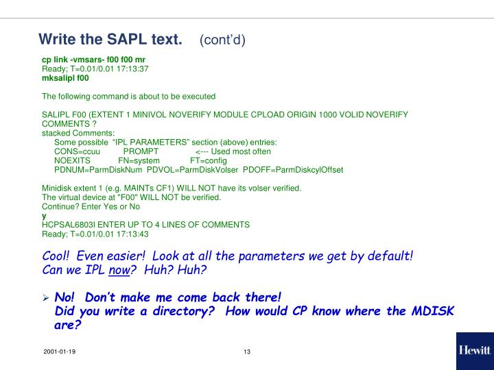 Write the SAPL text.