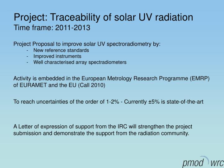 Project: Traceability of solar UV radiation