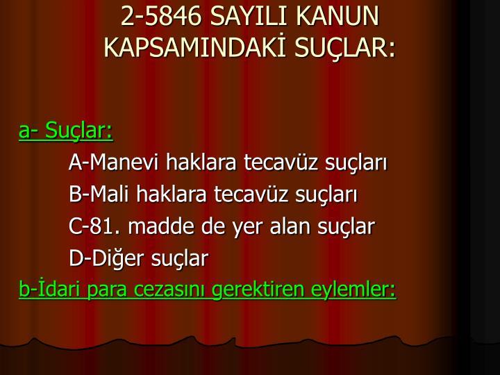 2-5846 SAYILI KANUN KAPSAMINDAK SULAR:
