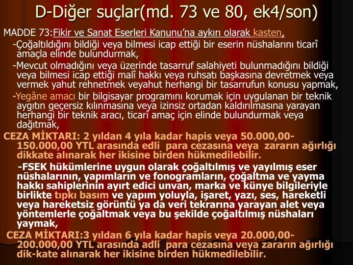 D-Dier sular(md. 73 ve 80, ek4/son)