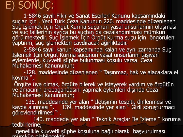 E) SONU: