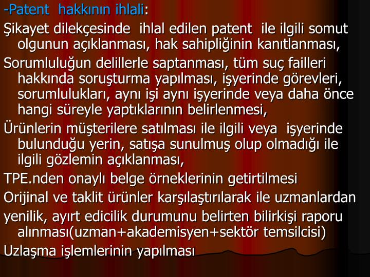 -Patent  hakknn ihlali