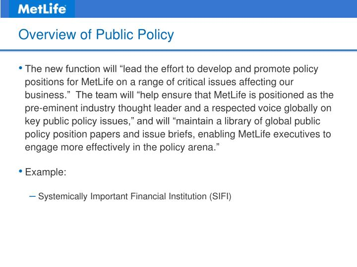 Overview of Public Policy
