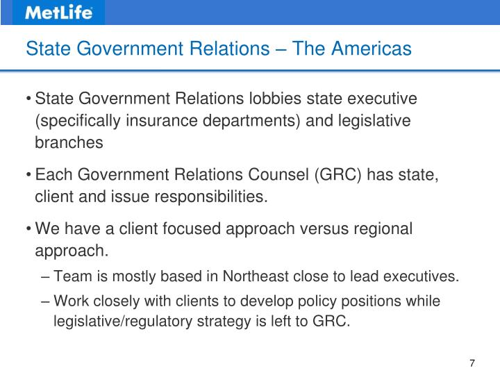 State Government Relations – The Americas