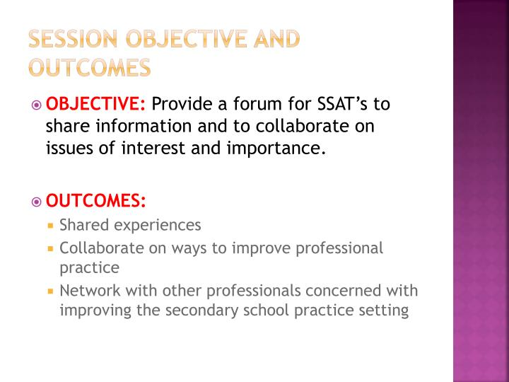 Session objective and outcomes