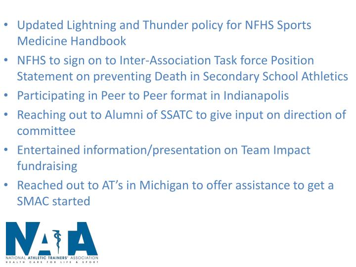 Updated Lightning and Thunder policy for NFHS Sports Medicine Handbook