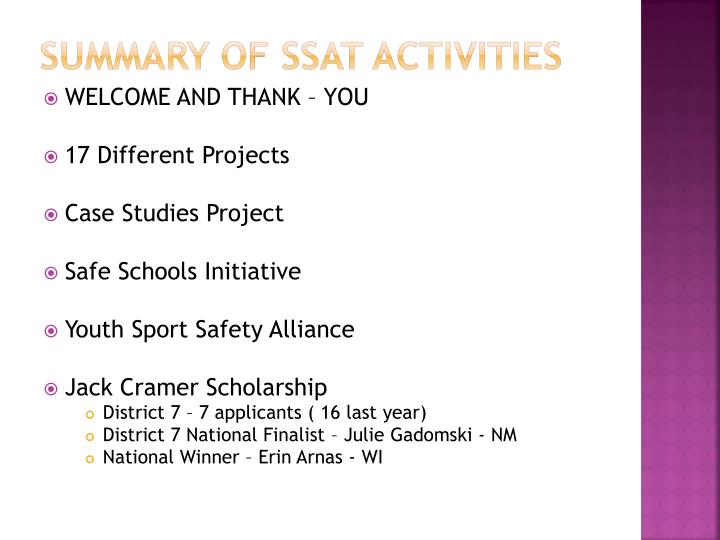 SUMMARY OF SSAT ACTIVITIES