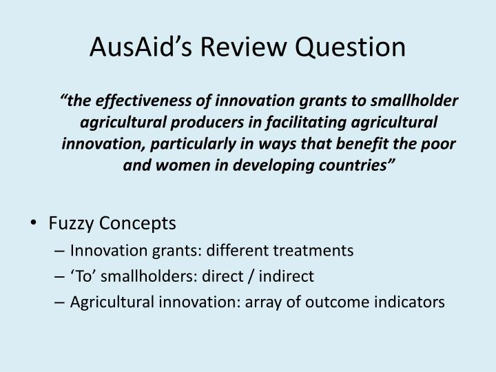 AusAid's Review Question