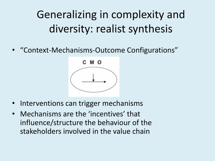 Generalizing in complexity and diversity: realist synthesis