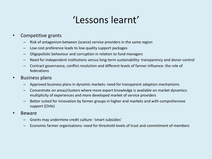 'Lessons learnt'