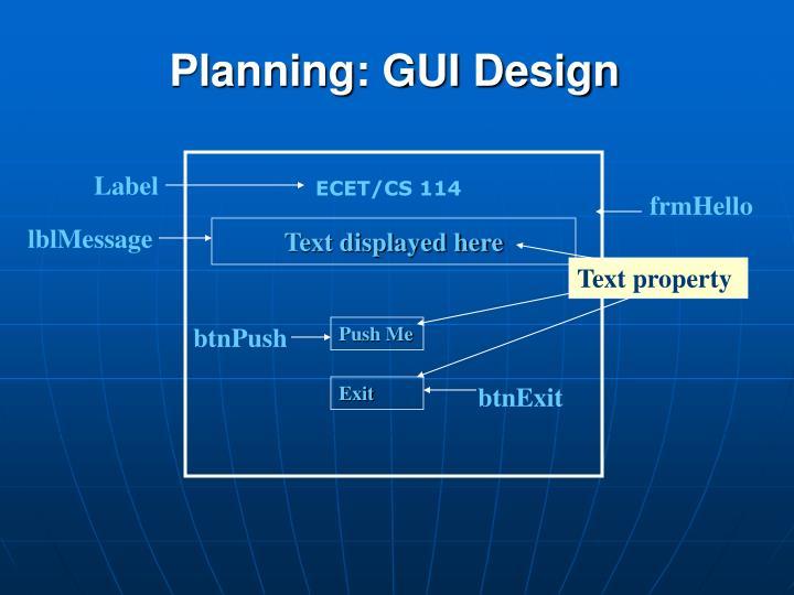 Planning: GUI Design