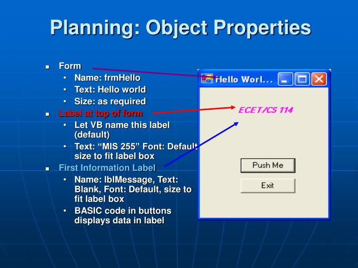 Planning: Object Properties