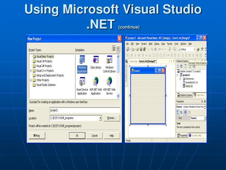 Using Microsoft Visual Studio .NET